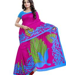 Buy Dark pink printed Mysore Jute and Cotton Linen Blend Silk saree with blouse printed-saree online