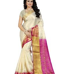 Buy White hand woven silk saree with blouse banarasi-saree online