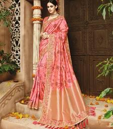 Buy Peach embroidered banarasi silk saree with blouse bridal-saree online
