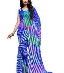 Buy Blue printed chiffon saree with blouse chiffon-saree online