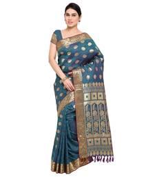 Buy Teal printed kanchipuram silk saree with blouse kanchipuram-silk-saree online