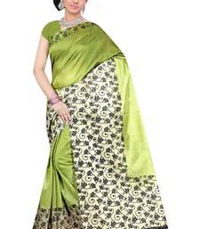 Buy Green printed Benglori silk saree with blouse bangalore-silk-saree online