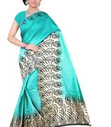 Buy Blue printed Benglori silk saree with blouse bangalore-silk-saree online
