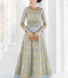 Buy Sky blue embroidered georgette salwar wedding-salwar-kameez online