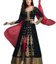 Buy Black Embroidered Georgette semi stiched salwar suit with dupatta semi-stitched-salwar-suit online
