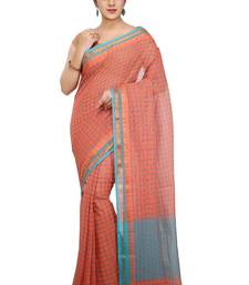 Buy Peach woven cotton saree with blouse traditional-saree online