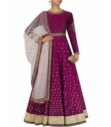 Buy Purple embroidered silk salwar salwar-kameez online