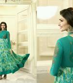 Buy Green embroidered georgette salwar