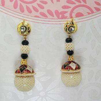 Meenakari Long Jaal Ball Earring Maroon Black