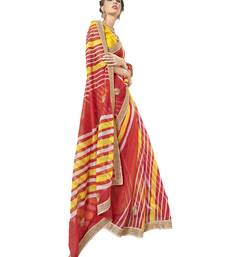 Buy   peach printed net saree with blouse supernet-saree online