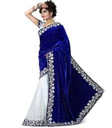 Buy White printed brasso saree with blouse brasso-saree online