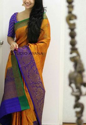Multicolor printed banarasi silk saree with blouse