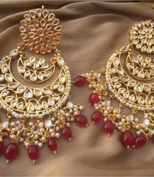Buy Red Kundan Chandbali Earrings Earring online