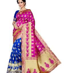 Buy Pink woven banarasi silk saree with blouse hand-woven-saree online