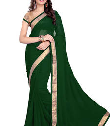 Buy Green Faux Georgette Embroidered Saree With Blouse faux-saree online