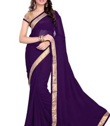 Buy Purple Faux Georgette Embroidered Saree With Blouse party-wear-saree online