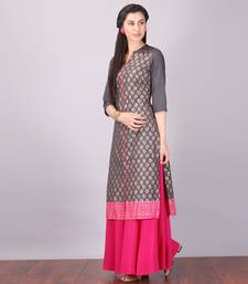 Buy Aurelia Grey Straight Cotton stitched kurti cotton-kurti online