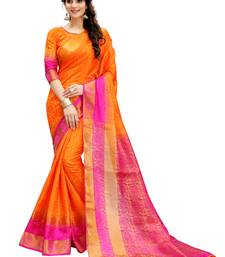 Buy Orange printed cotton silk saree with blouse Woman online