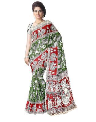 GiftPiper Kalamkari Saree in Cotton-Green & Red