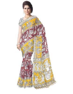 GiftPiper Kalamkari Saree in Cotton-Yellow & Red