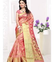 Buy Peach hand woven cotton silk saree with blouse cotton-silk-saree online
