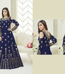 Buy Blue embroidered silk gown with dupatta ethnic-suit online
