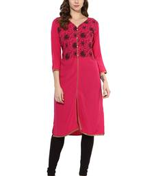 Buy Pink Printed Rayon stitched kurti kurtas-and-kurtis online