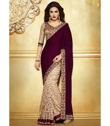 Buy Brown embroidered velvet saree with blouse velvet-saree online