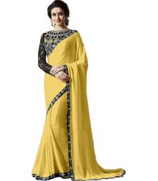 Buy Yellow embroidered satin saree with blouse satin-saree online