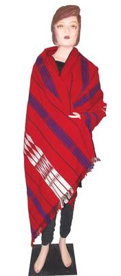 Hand-Woven Shawl from Nagaland-Red, white, Black and Blue weaving