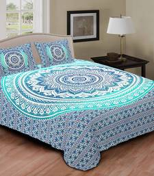 Buy multi colour  printed jaipuri cotton double bed sheet with pillow cover
