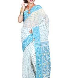 Buy White hand woven silk cotton saree  jamdani-saree online
