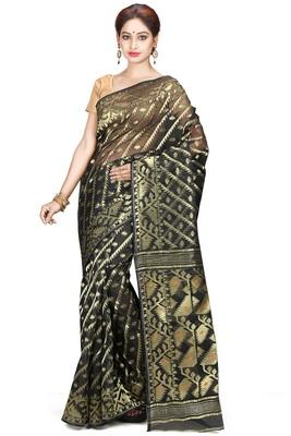 Black hand woven silk cotton saree