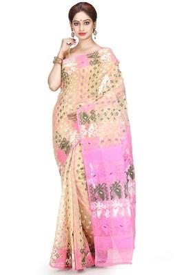 Beige hand woven silk cotton saree