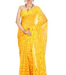 Buy Yellow hand woven silk cotton saree  jamdani-saree online