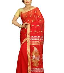 Buy Red hand woven silk cotton saree with blouse jamdani-saree online