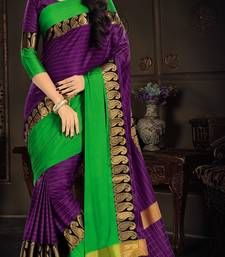 Buy Purple plain silk saree with blouse south-indian-saree online