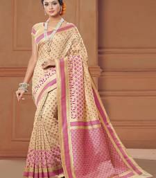 Buy Beige woven banarasi silk saree with blouse wedding-season-sale online
