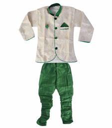 Buy green denim salwar embroidered kids  sherwani boys-sherwani online