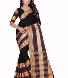 Buy Black printed cotton saree with blouse printed-saree online