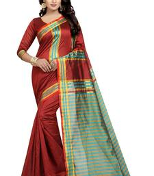 Buy Maroon printed cotton saree with blouse printed-saree online