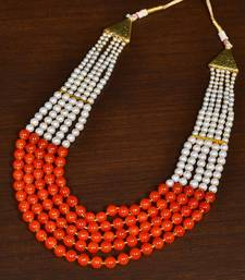 Buy Orange Multi-layered Beaded Necklace for Women Necklace online