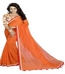 Buy Orange printed cotton saree with blouse cotton-saree online