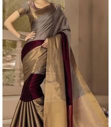 Buy wedding designer Maroon with grey plain silk saree with blouse kota-silk-saree online