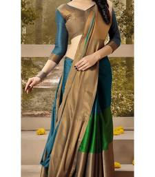 Buy Blue plain silk saree with blouse kota-silk-saree online