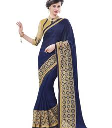 Buy Blue embroidered net saree with blouse chiffon-saree online