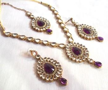Purple kundan necklace set
