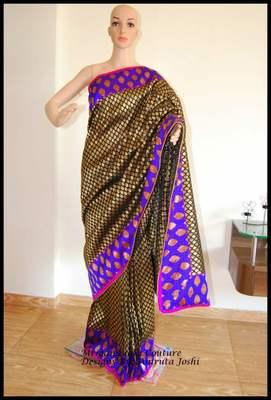 black brocade zari banars brocade silk designer wedding without blouse