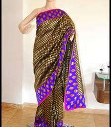 Buy black brocade zari banars brocade silk designer wedding without blouse brocade-saree online