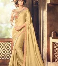 Buy Beige embroidered silk saree with blouse designer-embroidered-saree online